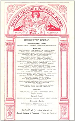 Societa Italiana di Fonotipia - Milano, Catalogue No.10, January 1907: Fonotipia Record Catalogue - 1907