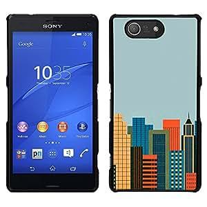 El Cosmopolitan City - Metal de aluminio y de plástico duro Caja del teléfono - Negro - Sony Xperia Z4v / Sony Xperia Z4 / E6508