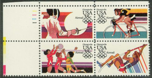 Olympics Set Block - 1983 Olympics Mint Plate Block Complete Set: Fencing, Cycling, Volleyball, Pole Vault, Scott C109-C112, C112a