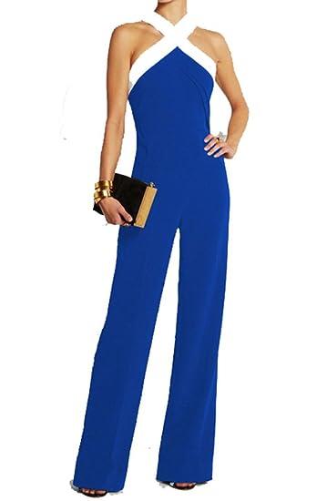 Ovender Tuta Elegante da Donna Pantaloni Lungo Jumpsuit Vestito Abito  Cerimonia Festa Casual  Amazon.it  Abbigliamento 8bddfc87ba4b