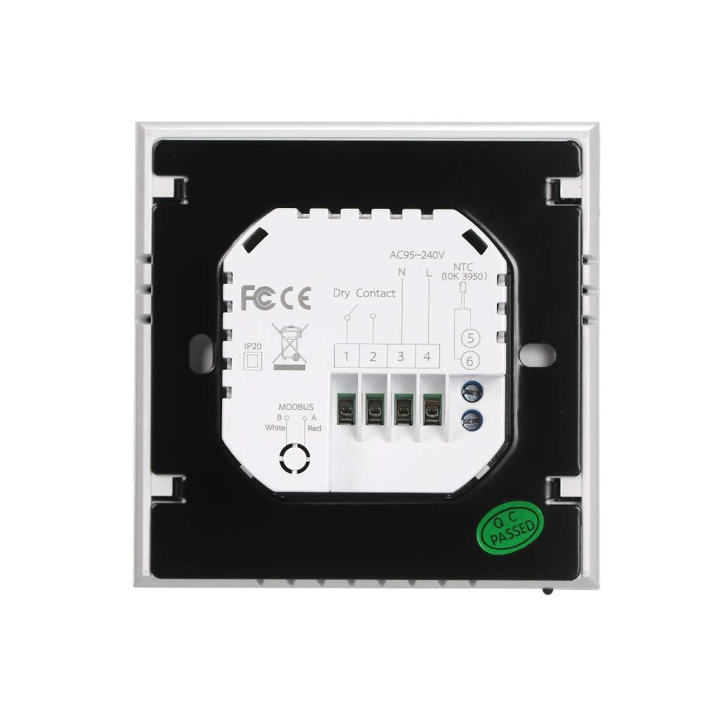 WIFI, rosa Termostato Inteligente para Caldera de Gas,Wifi Regulador de Sistema,Controlador con Pantalla Negativa T/áctil LCD,Programable 5A AC 95-240V