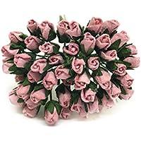 1/2cm Mauve Paper Roses, Mulberry Paper Flowers, Miniature Flowers, Mulberry Paper Rose Buds, Paper Rose Flower, Wedding Favor Decor, Miniature Rose, DIY Bouquet, Scrapbooking Flowers 50 Pieces