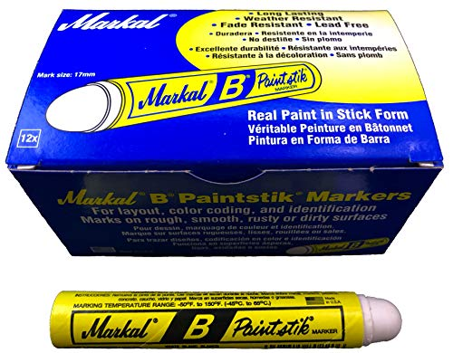 Box of 12 Markal B White Tire Chalk Paint Sticks Crayon Surface Marker ()