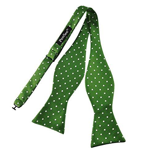 Pensee Mens Self Bow Tie Green and White Polka Dot Silk Bow Ties