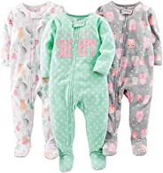Simple Joys by Carter's Baby Girls' 3-Pack Loose Fit Flame Resistant Fleece Footed
