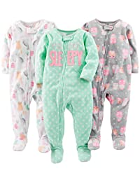 Simple Joys by Carter's Baby Girls' 3-Pack Loose Fit Flame Resistant Fleece Footed Pajamas