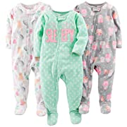 Simple Joys by Carter's Baby Girls' 3-Pack Loose Fit Flame Resistant Fleece Footed Pajamas, Owl/Cats/Dot, 6-9 Months