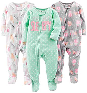 Simple Joys by Carter's Girls' 3-Pack Loose Fit Flame Resistant Fleece Footed Pajamas, Owl/Cats/Dot, 12 Months