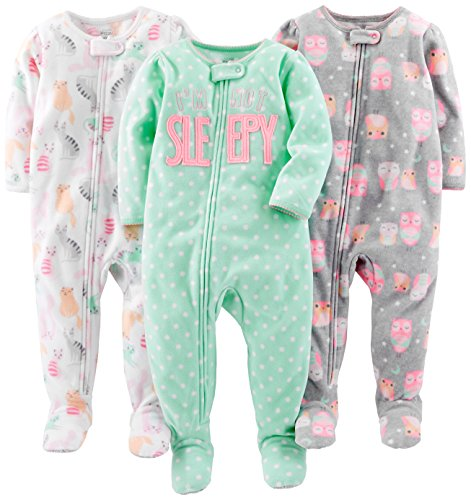 - Simple Joys by Carter's Baby Girls' Toddler 3-Pack Loose Fit Flame Resistant Fleece Footed Pajamas, Owl/Cats/Dot, 3T