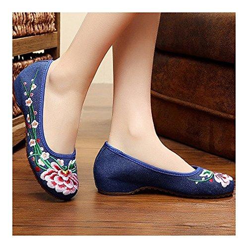 Zapatos Elegantes Bordados Flores de y Ciruela de Bonitos Azul xHawpE5qH