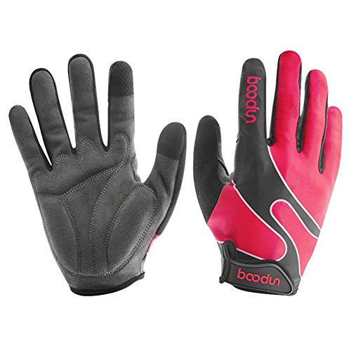 Women's Cycling Gloves Full Finger with Touch Screen, Shock-Absorbing Pad, Used for Outdoor Sports, Bike - Pink Middle