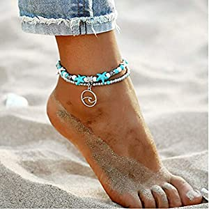 Blue Multilayer Charm Beads Sea Boho Anklet Foot Jewelry for Women
