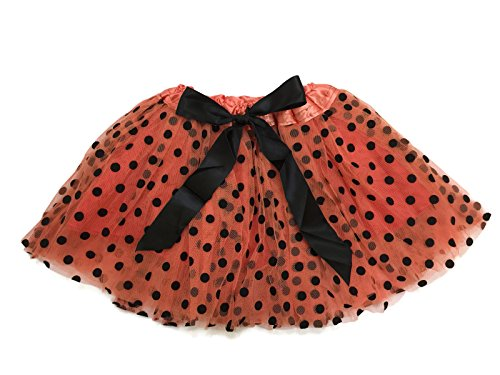 Rush Dance Ballerina Girls Dress-Up Princess Fairy Polka Dots & Ribbon Tutu (Kids (3-6 Years Old), Orange & Black (Halloween))