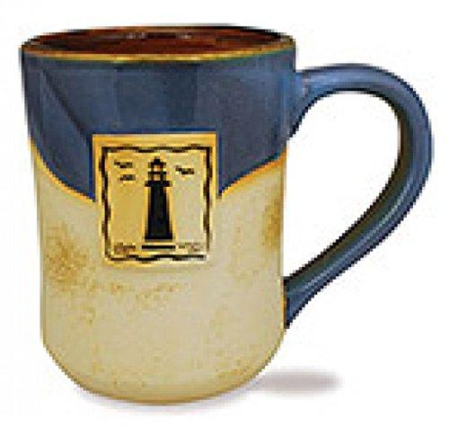 Pottery Lighthouse - Cape Shore 16 Ounce Stoneware Partial Glaze Pottery Mug (Lighthouse)