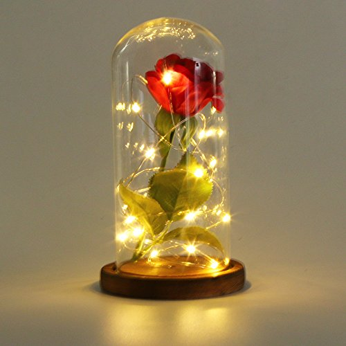 Fine Artificial Plants Fake Leaf Foliage Bush Home Office Garden Flower Wedding Decor Artificial Flower Glass Cover with Artificial Rose with Lighting (A Brown Chassis) (Chassis Lighting)