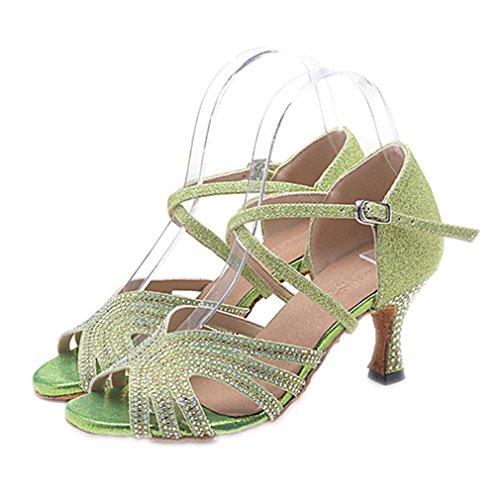 Da Scarpe Professionale Diamantini Latino Sandali Con Light Americani Swing Jazz Danza Moderna Prestazioni Balli Donna Tacchi Green Brillantini F4q0Y
