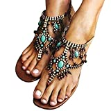 Bosmian Flat Sandals Women's Wedding Sandals Crystal with Rhinestone Beaded Dress Flip-Flop Gladiator Shoes