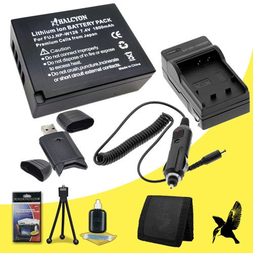 Halcyon 1800 mAH Lithium Ion Replacement NP-W126 Battery and Charger Kit + Memory Card Wallet + SDHC Card USB Reader + Deluxe Starter Kit for Fujifilm X-E2, X-E1, X-A1, X-M1, X-Pro1, Finepix HS30EXR, HS33EXR, HS35EXR, HS50EXR Digital Cameras by Halcyon