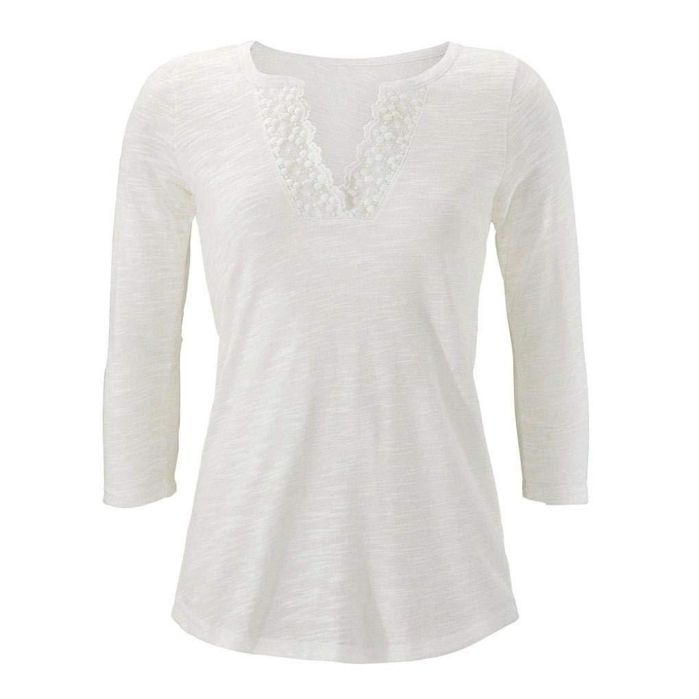 Blusa Mujer,❤ Camisa de Manga Larga con Cuello en V y Encaje de Mujer Blusa Basic de Tirantes de Mujer Boho Camisetas Casual Slim Jersey Tops Blusa Mujer ...
