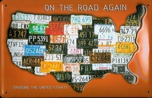 On the Road again USA - Nummernschilder Blechschild 20 x 30 cm
