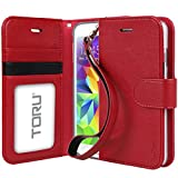 Galaxy S5 Case, TORU [Prestizio Wallet] S5 Wallet Case with [CARD SLOT][ID HOLDER][KICKSTAND][WRIST STRAP] - Premium Wristlet Leather Flip Cover for Samsung Galaxy S 5/S5 Neo - Red