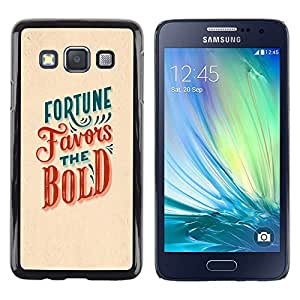 LECELL--Funda protectora / Cubierta / Piel For Samsung Galaxy A3 SM-A300 -- Fortune Favors The Bold Red Teal Inspiring --