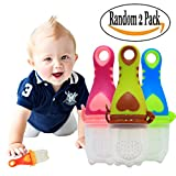 2-in-1 Heart Feeder and Teether Set for Girls/Boys Fresh Food-Fruit Silicone Toy Set for Feeding & Teething by Sportsvoutdoors Random Color 2 Pack
