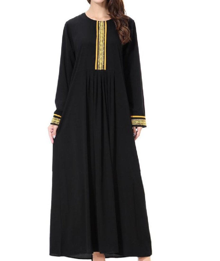 Vska Womens All-Match Crew Neck Abaya Muslim Kaftan Maxi Lace Hem Muslim Dress Golden XL