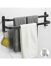 Wieszak na ręczniki łazienkowe, czarny matowy, z dwoma uchwytami na ręczniki i haczykami, bez wiercenia, 1 samoprzylepny wieszak na ręczniki