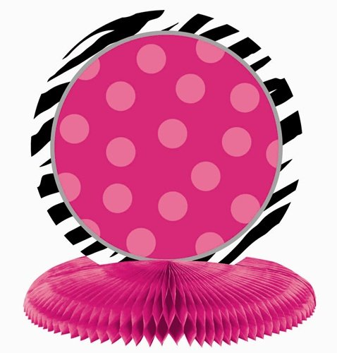 Pink Polka Dots and Black and White Zebra Print Table Centerpiece Kit Personalize It! Party Decoration (1 Piece), Multi Color, 12