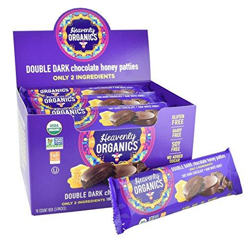 Heavenly Organics Double Dark Chocolate Honey Patties, Made with 100% Organic Cocoa and 100% Organic Raw White Honey; Non-GMO, Fair Trade, Kosher, Dairy & Gluten Free, No Sugar Added (16 Per Box)