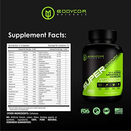 Bodycor SuperVitamin All Natural Multivitamin Superfood Supplement 150 Capsules , Complete Formula with Vitamins, Minerals, Antioxidants Essential Fatty Acids for Mental Physical Health