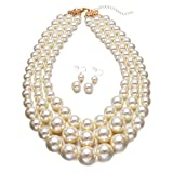 Yuhuan Faux Big White Pearl 3 Layer Chunky Necklace and Earring Set Bib Necklace Set