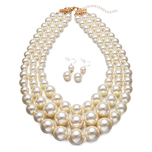 Yuhuan Faux Big White Pearl 3 Layer Chunky Necklace and Earring Set Bib Necklace -
