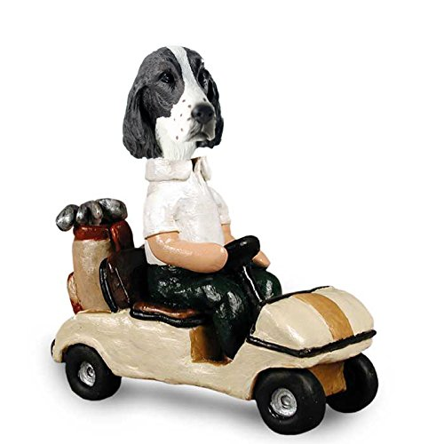 Liver and White Springer Spaniel Golf Cart Doogie Collectible Figurine