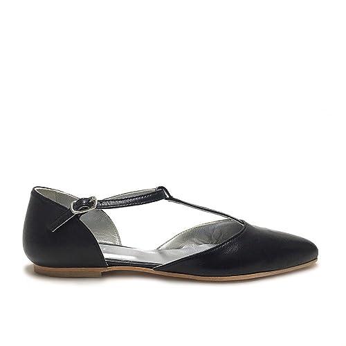Ballerine a punta con cinturini nere scarpe donna vera pelle made in italy