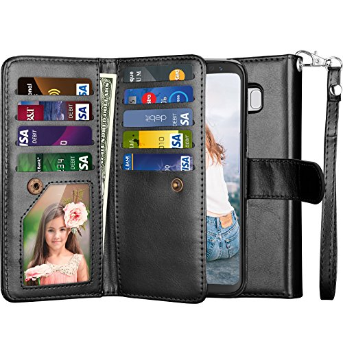 Njjex for Galaxy S8+ Case, for Galaxy S8 Plus Wallet Case, PU Leather [9 Card Slots] Card Holder Folio Flip Cover [Detachable][Kickstand] Magnetic Phone Case & Wrist Strap for Samsung S8 Plus [Black]
