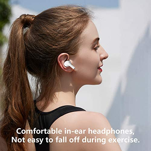 Wireless Earbuds Bluetooth 5.0 Headphones with Mobile Charging Case, IPX5 Waterproof, 3-d Stereo Air Buds in-Ear Ear Buds Built-in Mic, Pop-ups Auto Pairing for Airpods Android iPhone Apple Earbuds