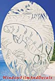 """Oval Manatee Etched Window Decal Vinyl Glass Cling - 21"""" x 33"""" - White with Clear Design Elements"""