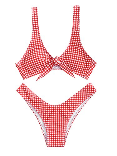 - SweatyRocks Women's Sexy Bikini Swimsuit Plaid Print Tie Knot Front Thong Bottom Swimwear Set Red L