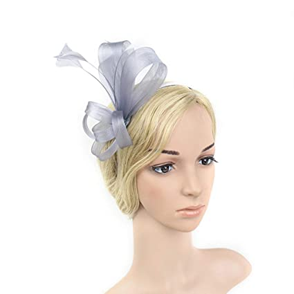 Sunmiao Women s Fascinators Hat Flower Mesh Feathers Headband Headwear Hair  Clip Accessories for Ladies Day Cocktail 92ee6ea33fe