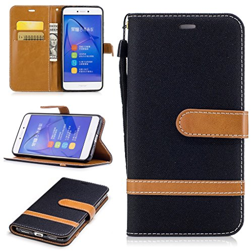 For Huawei P8 Lite 2017 Case [with Free Screen Protector], Metatze Premium Soft PU Leather Cowboy Cloth Wallet Cover Case For Huawei P8 Lite - Models Famous 2017