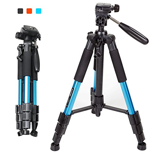 ZOMEI Q111 Portable Pro 55-inch Tripod Compact Lightweight Camera Stand with Quick Release Pan Head Plate for Digital SLR Canon EOS Nikon Sony Panasonic Samsung(Blue)