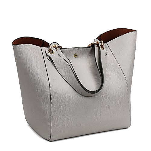 Leather Tote Handbags, Fashion Waterproof Shoulder Bag Women Leather Handbags Large Tote Purse (Gray)