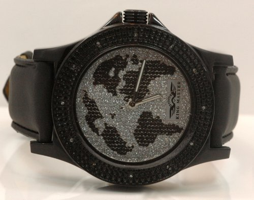 King Watch Master Diamond (King Master Mens World Map Diamond Watch 0.12ctw KM102)