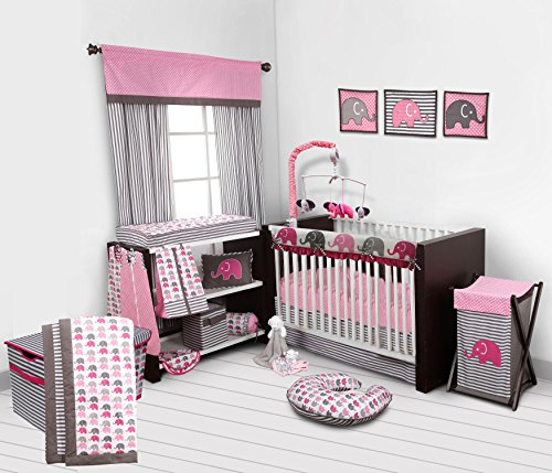 hants Nursery-in-A-Bag Crib Bedding Set with Long Rail Guard, Pink/Grey ()
