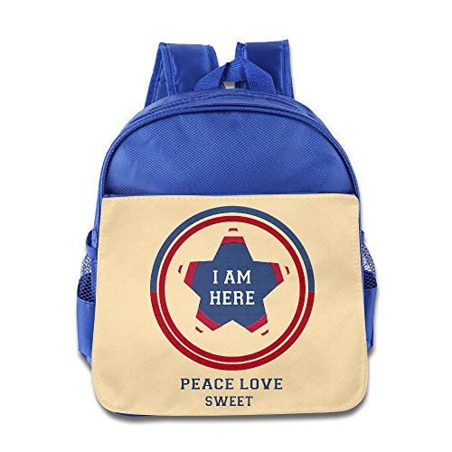 Dkny Cable - I Am Here Peace Love Kids School Backpack Bag RoyalBlue