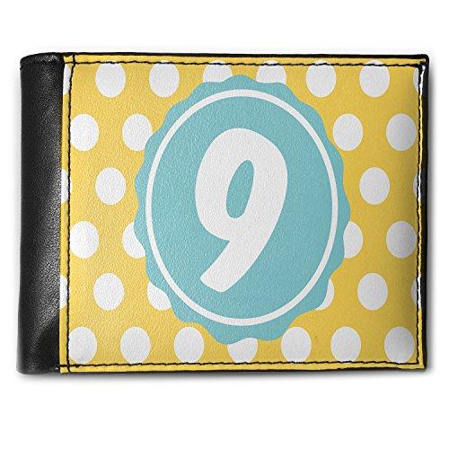 Wallet Monogram 9 Yellow Polka Dots Men's Bifold ID Case - Neonblond