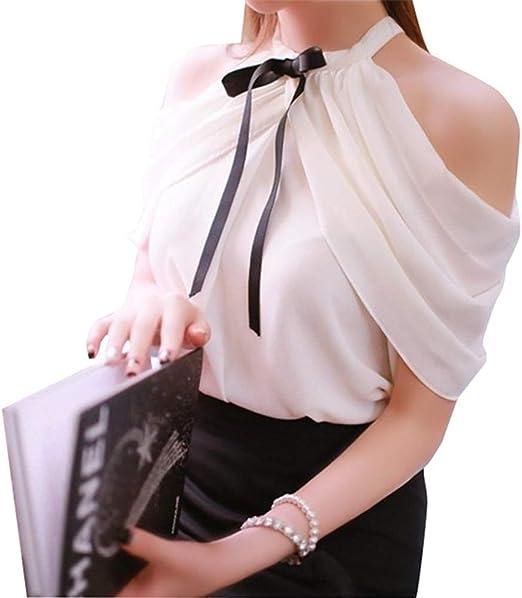 Vaugan Mujer Camiseta Tirantes Volante Lazo Informal Sólido Camisa Blusa de Tirantes Hombro Al Aire de Chiffón, Tipo Halter Suéter - Blanco, Small: Amazon.es: Hogar