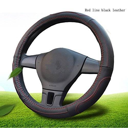 Mr.Dakai Odorless Luxury Genuine Leather Car Steering Wheel Cover-Nontoxic - Excellent Grip for vehicles,Suv (Large 15.5